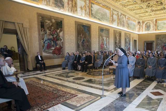 Pope Francis meets with the general chapter of the Little Missionary Sisters of Charity